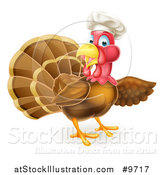 Vector Illustration of a Turkey Bird Chef Presenting to the Right by AtStockIllustration