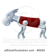 Vector Illustration of a Two 3d Silver Men Carrying a Giant Hammer by AtStockIllustration