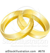 Vector Illustration of a Two Entwined Golden Wedding Rings by AtStockIllustration