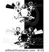 Vector Illustration of a Two Manga Style Futuristic Robots Holding Laser Guns by a Blank Shield and Banner - Black and White Version by AtStockIllustration