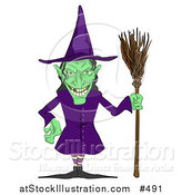 Vector Illustration of a Ugly Green Witch with a Broom by AtStockIllustration