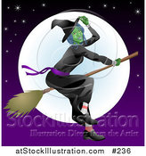 Vector Illustration of a Ugly Witch Flying on a Broomstick in Front of the Moon by AtStockIllustration