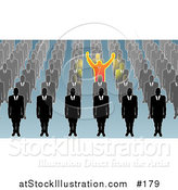 Vector Illustration of a Unique Business Man Holding His Arms Up, Surrounded by Men in Rows by AtStockIllustration
