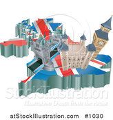 Vector Illustration of a United Kingdom, the London Bridge, Tower of London, and Big Ben over a Map with the Union Jack by AtStockIllustration