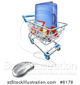 Vector Illustration of a Vacation Travel Booking Shopping Cart with Luggage and a Computer Mouse by AtStockIllustration