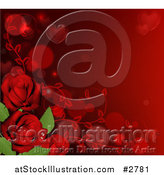 Vector Illustration of a Valentines Day Background Bordered with Heart Bubble and Red Roses by AtStockIllustration