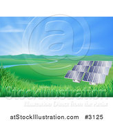 Vector Illustration of a Valley with Solar Panels Creating Sustainable Energy by AtStockIllustration
