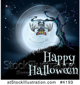 Vector Illustration of a Vampire Bat Hanging from a Spooky Tree Against a Full Moon over Happy Halloween Text by AtStockIllustration