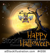 Vector Illustration of a Vampire Bat Hanging from a Spooky Tree Against an Orange Full Moon over Happy Halloween Text by AtStockIllustration