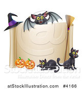 Vector Illustration of a Vampire Bat over a Halloween Scroll Sign with Black Cats a Broomstick Pumpkins and Witch Hat by AtStockIllustration
