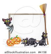 Vector Illustration of a Vampire Bat Pointing to a Halloween Sign with Black Cats a Broomstick and Pumpkins by AtStockIllustration