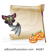 Vector Illustration of a Vampire Bat with a Halloween Scroll Sign a Broomstick and Pumpkins by AtStockIllustration