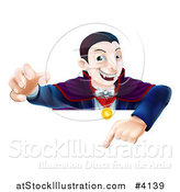 Vector Illustration of a Vampire Reaching out and Pointing down at a Sign by AtStockIllustration