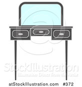 Vector Illustration of a Vanity Dressing Table with a Mirror by AtStockIllustration