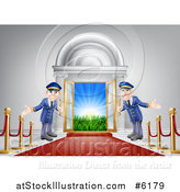 Vector Illustration of a Venue Entrance with a VIP Red Carpet and Welcoming Doormen by AtStockIllustration