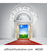 Vector Illustration of a Venue Entrance with Perfect Job Text and Red Carpet Leading to a Sunrise by AtStockIllustration