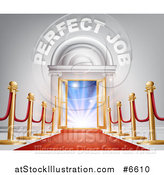 Vector Illustration of a Venue Entrance with Perfect Job Text, Posts and Red Carpet Leading to a Sunrise by AtStockIllustration