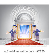 Vector Illustration of a Venue Entrance with Welcoming Doormen, a Red Carpet, and Success Text over Light by AtStockIllustration