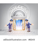 Vector Illustration of a Venue Entrance with Welcoming Doormen and Success Text over Light by AtStockIllustration