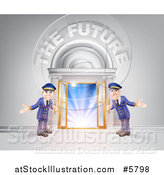 Vector Illustration of a Venue Entrance with Welcoming Friendly Doormen and the Future Text by AtStockIllustration