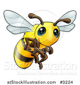 Vector Illustration of a Very Cute Bee with Big Eyes by AtStockIllustration