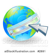 Vector Illustration of a Vibrant Green and Blue Earth with a Url Search Bar and Cursor by AtStockIllustration
