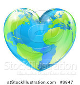 Vector Illustration of a Vibrant Shiny Green and Blue Heart Shaped Earth by AtStockIllustration