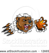 Vector Illustration of a Vicious Aggressive Bear Mascot Slashing Through a Wall with a Basketball in a Paw by AtStockIllustration
