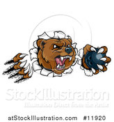 Vector Illustration of a Vicious Aggressive Bear Mascot Slashing Through a Wall with a Bowling Ball in a Paw by AtStockIllustration