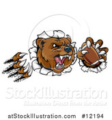 Vector Illustration of a Vicious Aggressive Bear Mascot Slashing Through a Wall with a Football in a Paw by AtStockIllustration
