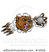 Vector Illustration of a Vicious Aggressive Bear Mascot Slashing Through a Wall with a Golf Ball in a Paw by AtStockIllustration