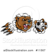 Vector Illustration of a Vicious Aggressive Bear Mascot Slashing Through a Wall with a Soccer Ball in a Paw by AtStockIllustration