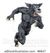 Vector Illustration of a Vicious Black Muscular Wolf Man Sprinting by AtStockIllustration
