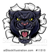 Vector Illustration of a Vicious Black Panther Breaking Through a Wall by AtStockIllustration