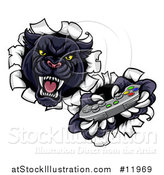 Vector Illustration of a Vicious Black Panther Breaking Through a Wall with a Video Game Controller by AtStockIllustration