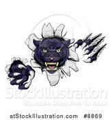 Vector Illustration of a Vicious Black Panther Shredding Through a Wall by AtStockIllustration