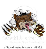 Vector Illustration of a Vicious Coyote Mascot Slashing Through a Wall by AtStockIllustration