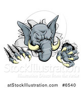 Vector Illustration of a Vicious Elephant Monster Clawing Through a Wall by AtStockIllustration