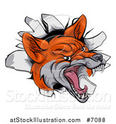 Vector Illustration of a Vicious Fox Breaking Through a Wall by AtStockIllustration