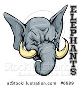 Vector Illustration of a Vicious Gray Elephant Mascot Head and Text by AtStockIllustration