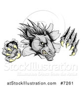 Vector Illustration of a Vicious Gray Horse Stallion Monster Breaking Through a Wall with Claws by AtStockIllustration