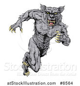 Vector Illustration of a Vicious Gray Muscular Wolf Man Sprinting by AtStockIllustration