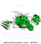 Vector Illustration of a Vicious Green Dragon Mascot Head Shredding Through a Wall by AtStockIllustration
