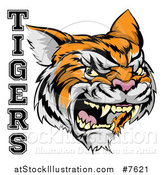 Vector Illustration of a Vicious Growling Tiger Mascot Face and Text by AtStockIllustration
