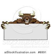 Vector Illustration of a Vicious Mad Brown Bull Mascot with Claws, Holding a Blank Sign by AtStockIllustration