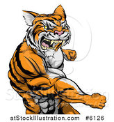 Vector Illustration of a Vicious Mad Muscular Tiger Man Punching by AtStockIllustration