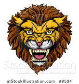 Vector Illustration of a Vicious Male Lion Mascot Head by AtStockIllustration