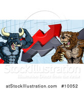 Vector Illustration of a Vicious Muscular Brown Bear Man and Bull Ready to Fight over a Graph with Arrows by AtStockIllustration