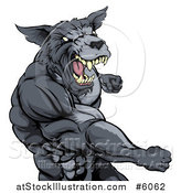 Vector Illustration of a Vicious Muscular Wolf Man Punching by AtStockIllustration