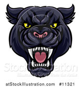 Vector Illustration of a Vicious Roaring Black Panther Mascot Head by AtStockIllustration